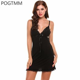 Robes De Nuit Pour Femmes Pas Cher-Summer Nightgown Robe en dentelle Full Slip Night Babydoll Chemise Women Lounge Dress Sexy Lingerie Costume Erotique Hot Costume Vêtements Rouge