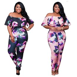 Barato Penteado Para Mulheres-Jumpsuits mulheres de moda Plus Size Slash Neck Rompers Tight Printed Siamese Pants Slim One Piece Pants Tamanho S-4XL
