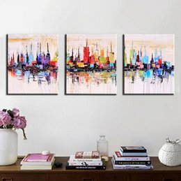 $enCountryForm.capitalKeyWord Canada - Unframed 3panel Handpainted Abstract City Landscape Palette Knife Oil Painting For Living Room Wall Art Unique Gift