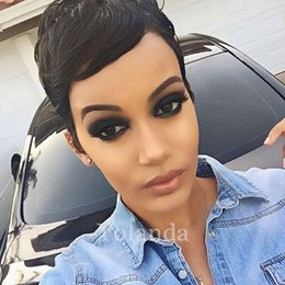 $enCountryForm.capitalKeyWord Australia - Very Short Straight Human Hair Wigs for Black Women Brazilian Glueless Full Lace Front Human Hair Wigs Virgin With Baby Hair