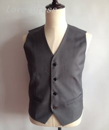 Vêtements De Survêtement Pas Cher-Vente en gros - Cheap Grey Unique Design Vest Man Costumes Four Button Groomsman Tuxedos Hommes Veste de mariage