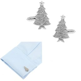 $enCountryForm.capitalKeyWord Canada - Novelty Christmas Tree Design Cufflink Sleeve Nail Plain Colour Metal Cuff Link Wedding Dress Party Christmas Gift