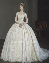 $enCountryForm.capitalKeyWord Canada - Vintage Victorian Gothic Ball Gown Wedding Dresses 2018 Amazing Lace Pearl Detail Sweetheart Long Sleeve Arabia Turkey Pakistan Wedding Gown