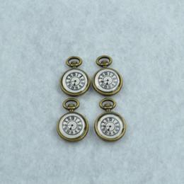 floating charm gold 2019 - Wholesale-DIY jewelry accessories wholesale 30pcs lot metal antique bronze enamel floating charms clock pendant Z42296 c