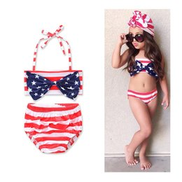 Two Piece Toddler Swimsuit Canada - American Flag Baby Swimsuit Big Bow Samgamibaby Two-piece Bikini Infant Toddler Girls' Bathing Flora Geometric Swimwear