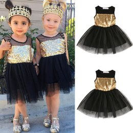 Robes De Mariage En Âge Pas Cher-2017 Fashion Golden Sequins Sleeveless Baby Girls Toddler Kids Black Dress Casual Party Wedding Age 2-7Y