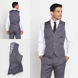 Barato Casaco De Casaco De Casamento-Handsome Men Suit Free Shipping Smoking de prata Groomsmen Custom Made Two Pieces Slim Fit Melhores ternos de casamento Bridegroom (Vest + Pants)