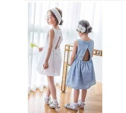 casual lolita fashion 2019 - Girls Dress Kids Clothing 2017 Summer Hollow Out Flower bowknot Dress Fashion Sleeveless Vest Cotton Bow Princess backle