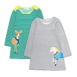 3762976d50 Autumn Baby Girls Dress Embroidery Striped Children Dresses Long Sleeve  1-6Years Girl Blouses Shirts Kids Tops Jumpers Cotton