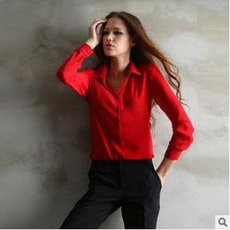 a472701a4c5894 Womens black shirt White collar online shopping - 4 Colors Women Chiffon  Shirt Spring Summer Womens