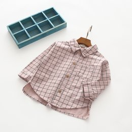 Botones De La Blusa Baratos-Everweekend Girls Button Pocket Plaid Blusas Cute Baby Beige Rosa y gris Color Shirts Lovely Kids Korean Fashion Autumn Tops