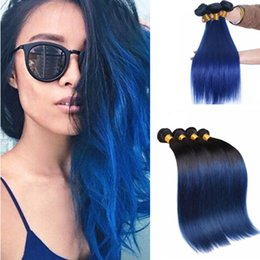 Black blue ombre hair extensions suppliers best black blue ombre peruvian virgin straight ombre black and blue hair extensions 1b blue two tone human hair weaving silk straight ombre weaves cheap black blue ombre hair pmusecretfo Gallery