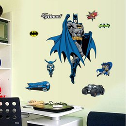 Removable Wall Stickers For Kids NZ - Wholesale Removable Batman Wall Stickers for Kid Boy Cartoon Decorative Wall Decal Art Movie Poster Home Decoration
