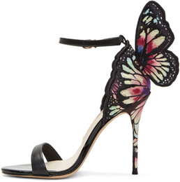 China sophia webster Webster Butterfly Sandals Fashion Evangeline Angel-wing Sandals High Heeled Stiletto Ankle Strap Lady Sandals size 34-42 suppliers