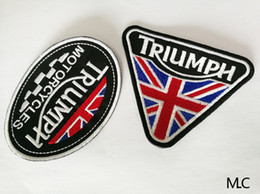 Discount free patches for clothes - 2PCS LOT M.C 10*7&10*8 cm The Classical Union Flag MOTORCYCLES TRIUMPH Embroidery Patch Iron on Patch for Clothes Free S