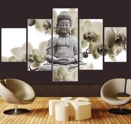 $enCountryForm.capitalKeyWord NZ - UnFramed 5 Panel Large Orchid Background Buddha Painting Fengshui Canvas Art Wall Pictures for Living Room Home Decor For Women