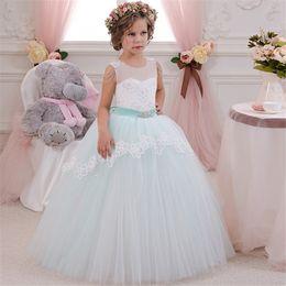 Mint Green Tutu NZ - Mint Green Baby Princess Flower Girl Dresses Lace Appliques Wedding Prom Ball Gowns Birthday First Communion Dress Toddler Kids TuTu Dress