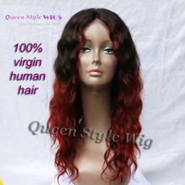 $enCountryForm.capitalKeyWord NZ - Chic Two Tone Color Wig Raw Black Ombre Burgundy Red Curly Hair Lace Front Wigs for Black Woman 100% Indian Virgin Human Hair