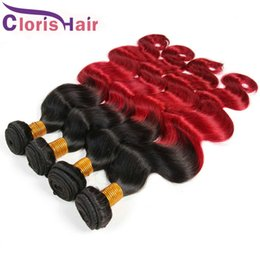 dark red hair weave 2019 - Raw Indian Wavy Ombre Bundles Two Tone 1B Red Body Wave Remy Human Hair Weaves Peerless Dark Root Red Ombre Hair Extensi