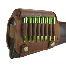 cartridge gun UK - Tourbon Hunting Rifle Buttstock Shooting Cheek Rest Riser Pad Leather With Ammo Cartridges Holder Carrier Gun Accessories