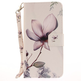 2018 flower leather flip phone case Painted Magnolia flower pattern flip stand PU leather case for iphone 5 5s 6 6 6s 6plus 6splus 7 7 plus card slot wallet