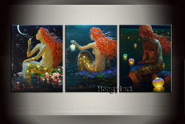 fantasy oil paintings NZ - 3 Panel Gift Large Modern Contemporary Fantasy Mermaid Abstract Oil Painting HD Picture Giclee Print Wall Art Home Decor Printed Canvas at12