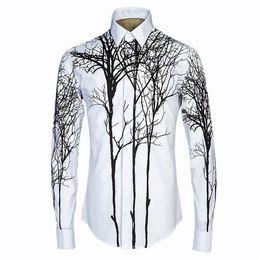 China New Arrival Fashion Brand Mens 3D Abstract Painting Print Shirt Style 3D Shirt Long Sleeve High quality material Dress Shirts cheap dress shirt mens high collar suppliers