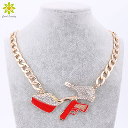 Discount gold gun pendant - 2017 New Sexy Women Accessories Jewelry High Heels Gun Pendant Necklace Gold Color Link Chain Short Necklaces