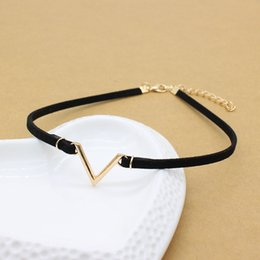 rhinestone letter chokers Australia - Simple Vintage V Letter Shape Choker Necklace Hollow Black Rope Velvet Collar Leather Collier Femme Chocker Punk Jewelry