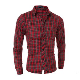 $enCountryForm.capitalKeyWord Canada - Wholesale- 2015 New Brand Cotton Color Plaid Red Fashion Mens Dress Shirts Long sleeve Slim Fit Casual Social Camisas Masculinas M-XXL