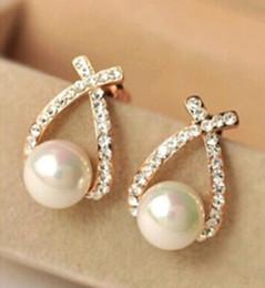 $enCountryForm.capitalKeyWord Australia - Hot Selling Rhinestone Pearl Earrings Charm Cross Semi-precious Stones Earrings for Women Gift gold silver color Korean Free Shipping