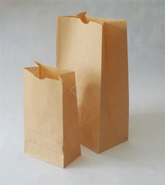 Paper Package Size Canada - 100 Pcs lot Eco-friend Recyclable Kraft Shopping Bags Fast food Paper Bags Packaging Bags for food Popcorn Hamburger Coffee Nut many size