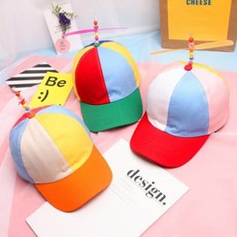 ab830f7258834e Korean Adult Child Adjustable Propeller Ball Baseball Cap Hat Dragonfly Top  Multi-Color Patchwork Funny Clown Sun Cap Costume