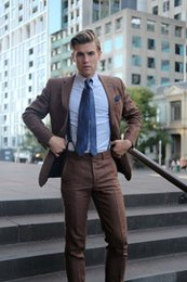Design Pantalon Costume Homme Pas Cher-Vente en gros- 2017 Fashion Slim Fit Men Suit Notch Lapel Dernier manteau Pantalon Design Marron Hommes Costumes Besouché Wedding Men Tuxedo (Jacket + Pants + Tie)