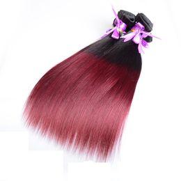 1b 99j hair weave 2019 - Brazilian Virgin Human Hair Ombre 1b 99j Unprocessed Remy Straight Hair Weaves Double Wefts 100g Bundle 3bundle lot Can