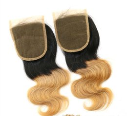 """Chinese  4x4"""" Brazilian Human hair Body wave closure Two Tone Ombre Lace Closure ombre color T 1b 27,Brazilian body wave hair closure free shipping manufacturers"""