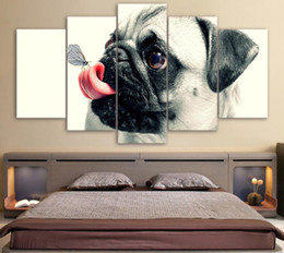 Dog Picture Frames Canada - HD Printed 5 Piece Canvas Art Cute Pet Dog Painting Pugs Wall Pictures for Living Room Framed Poster Free Shipping