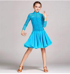 477e512b3b Children Kids Girls Latin Dance Dress Salsa Tango Cha cha Ballroom  Competition Long Sleeves Lace Dance Dress White blue Red S-2XL Y009