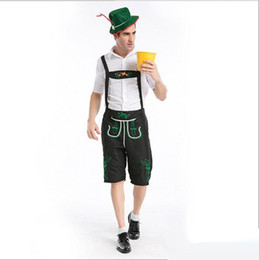 Oktoberfest Halloween Costumes Canada - 10Pcs Lot British Men's Suspenders Workers Uniform Cosplay Halloween Costumes Oktoberfest Farmer Game Performance Clothing Hot Sale