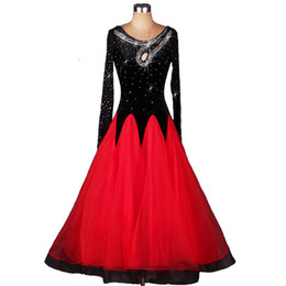 Ballroom Dance Competition Dresses Standard Dance Dresses D235 Rhinestones Long Sleeve Big Sheer Hem Patchwork 2 Colors from coral grey dress manufacturers