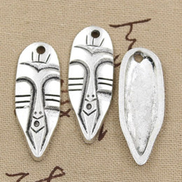 tiki masks NZ - Wholesale-99Cents 2pcs Charms tiki tribal mask 40*15mm Antique Making pendant fit,Vintage Tibetan Silver,DIY bracelet necklace