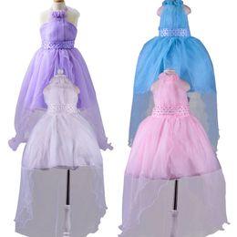 Korean Kids wedding dresses online shopping - Baby Girls Party Dress New Korean Kids Girls Princess Dresses Lace Long Tail Wedding Kids Dresses Girls Vestido Infantis