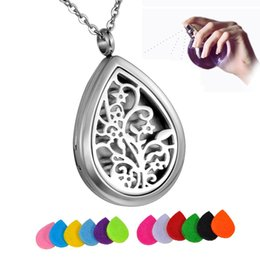 Discount tree life chain - Tree Life Stainless Steel Water Drop Perfume Locket Essential Oil Diffuser Necklace Aromatherapy Pendant Necklace With 1