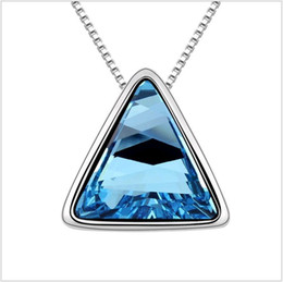 secret pendant NZ - 1pcs Swarovski Elements Crystal Jewelry The Secret on the Roof Triangle Pendants Necklace for Women 3 colors