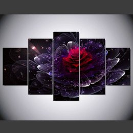purple flower canvas paintings 2019 - New 5 piece canvas art Canvas Painting Purple Flower For Living Room Wall Picture Decoration for Home With IM-263 cheap