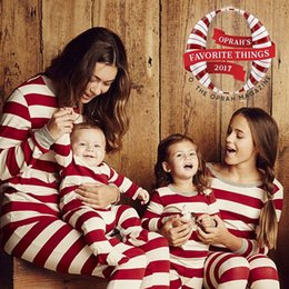 match clothing mom baby Australia - Matching family christmas pajamas striped nightwear baby kid adult clothes XMAS striped dad mom kids clothing set two pieces outfit gift