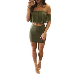 Robes De Gros En Gros Pas Cher-Vente en gros- New Arrival 2016 Summer Army Green Grey Women Two Piece Dress Sexy Bustier à manches courtes Fashion Bodycon Midi Robes