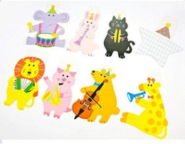 Kids birthday party pacKs online shopping - 15Pcs Pack M Happy Family Baby Shower Cartoon Animal Garland Striped Paper Flags Banner Decor Birthday Party Supplies For kids