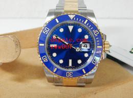 Опт Роскошные AAA Марка наручные часы сапфировый синий люминесцентный 40 мм керамический безель два тона золото 116613 116613LB автоматические механические мужские часы
