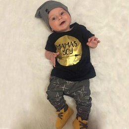 Baby Gold Leopard Canada - Kids Clothing New Fashion Summer Baby Boys Clothing Set T-shirts Gold Printing 2 Piece Sets With High Quality
